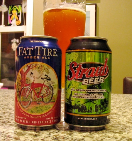 Fat Tire & Straub cans